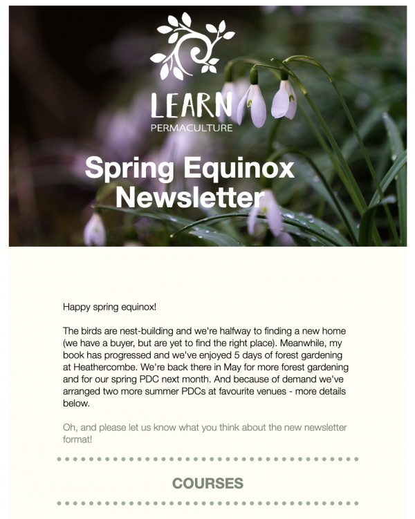Learn Permaculture Newsletter